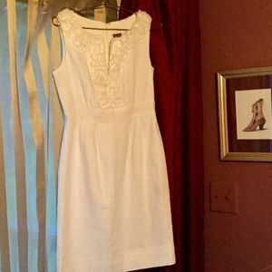 SWEET IVORY LINEN DRESS EXQUISITE ACCENTS Taylor